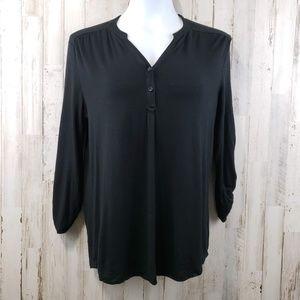 Cable & Gauge Women Top Black Long Sleeve 2 Button